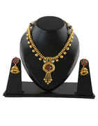 Gold Finish Necklace Styled With Pearls Beads Necklace Fancy