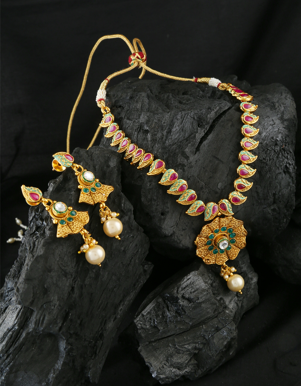 Multi Colour Gold Finish Traditional Necklace