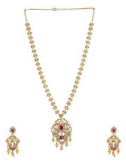 Pink Colour Gold Finish American Diamond Long Necklace