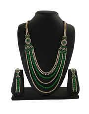 Green Colour Gold Finish Designer Diamond Long Necklace