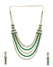 Green Colour Gold Finish Designer Diamond Long Necklace