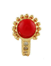Red Colour Gold Finish Nose Stud For Girls