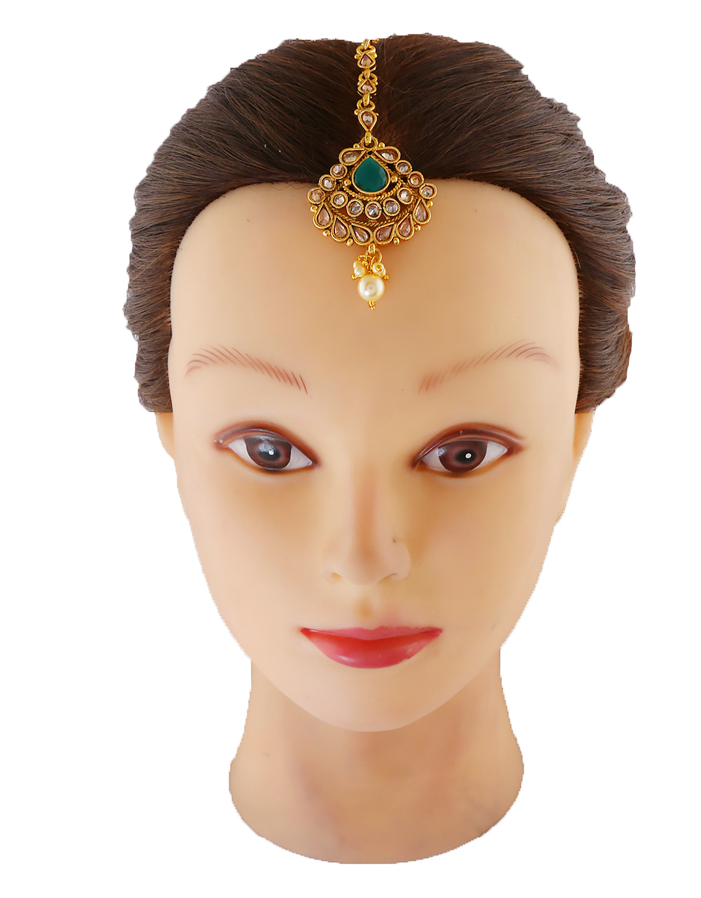 Green Colour Gold Finish Fashionable Forehead Jewellery