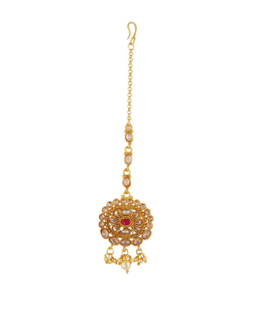 Red Colour Floral Design Gold Finish Maang Tika Fancy