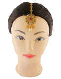 Red Colour Gold Finish Mang Hair Jewellery