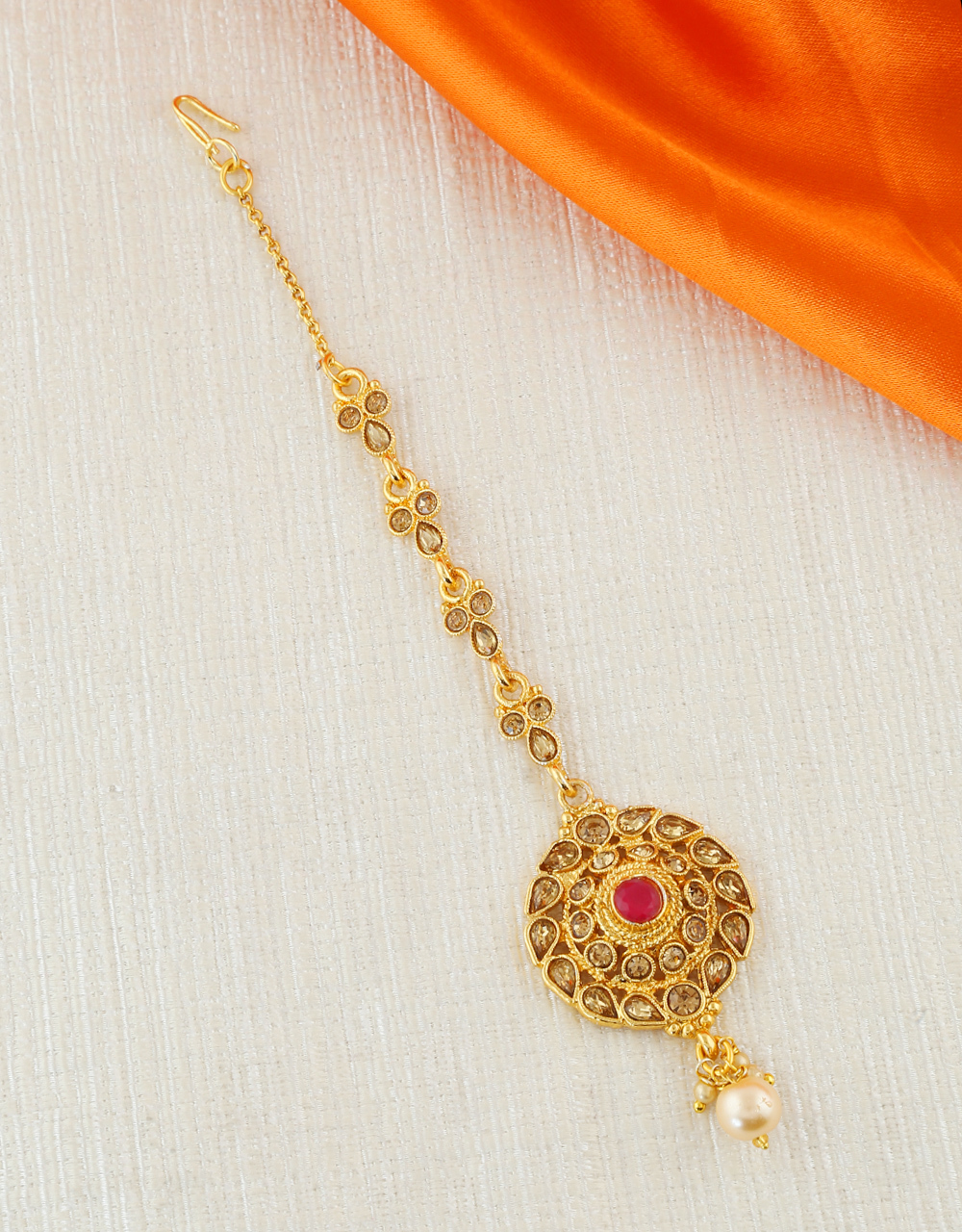 Red Colour Gold Finish Floral Design Mang Hair Tikka