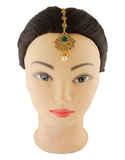 Green Colour Fashionable Gold Finish Mang Tika Jewellery