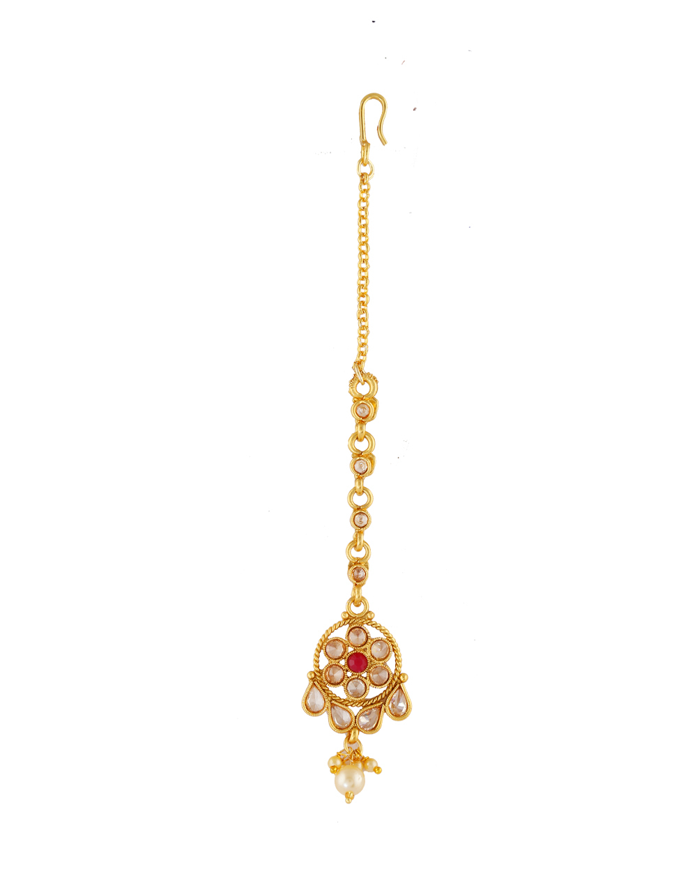 Red Colour Simple Gold Finish Mang Tikka