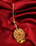 Floral Design Red Colour Gold Finish Mang Tika Jewellery