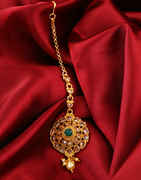 Red Colour Gold Finish Fancy Mang Tika Jewellery