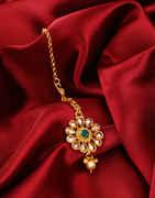 Green Colour Antique Gold Finish Trendy Mang Tika