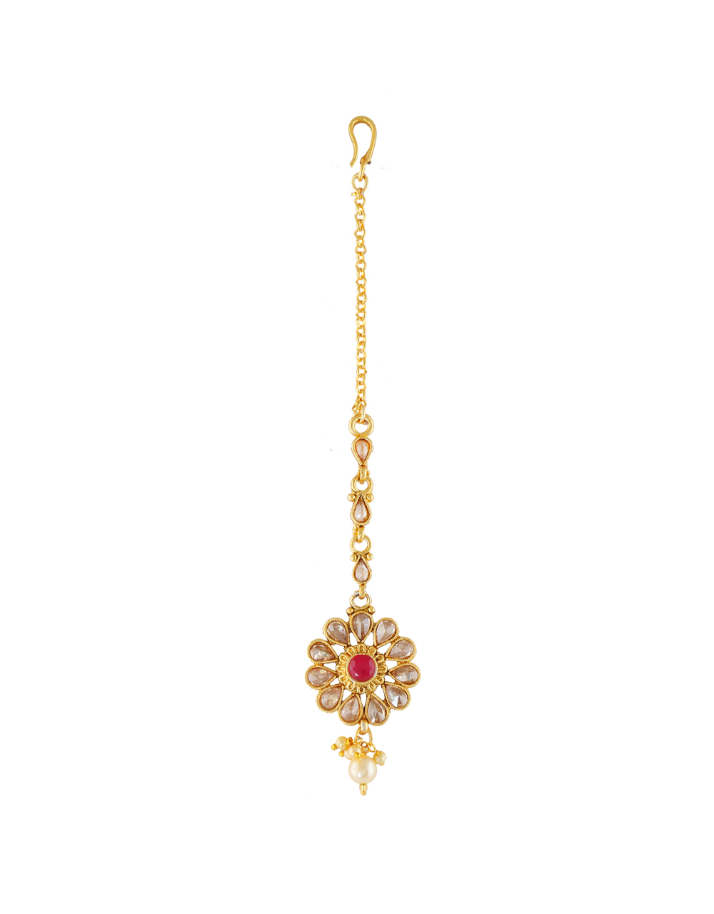 Floral Design Red Colour Mang Tika Hair Jewellery