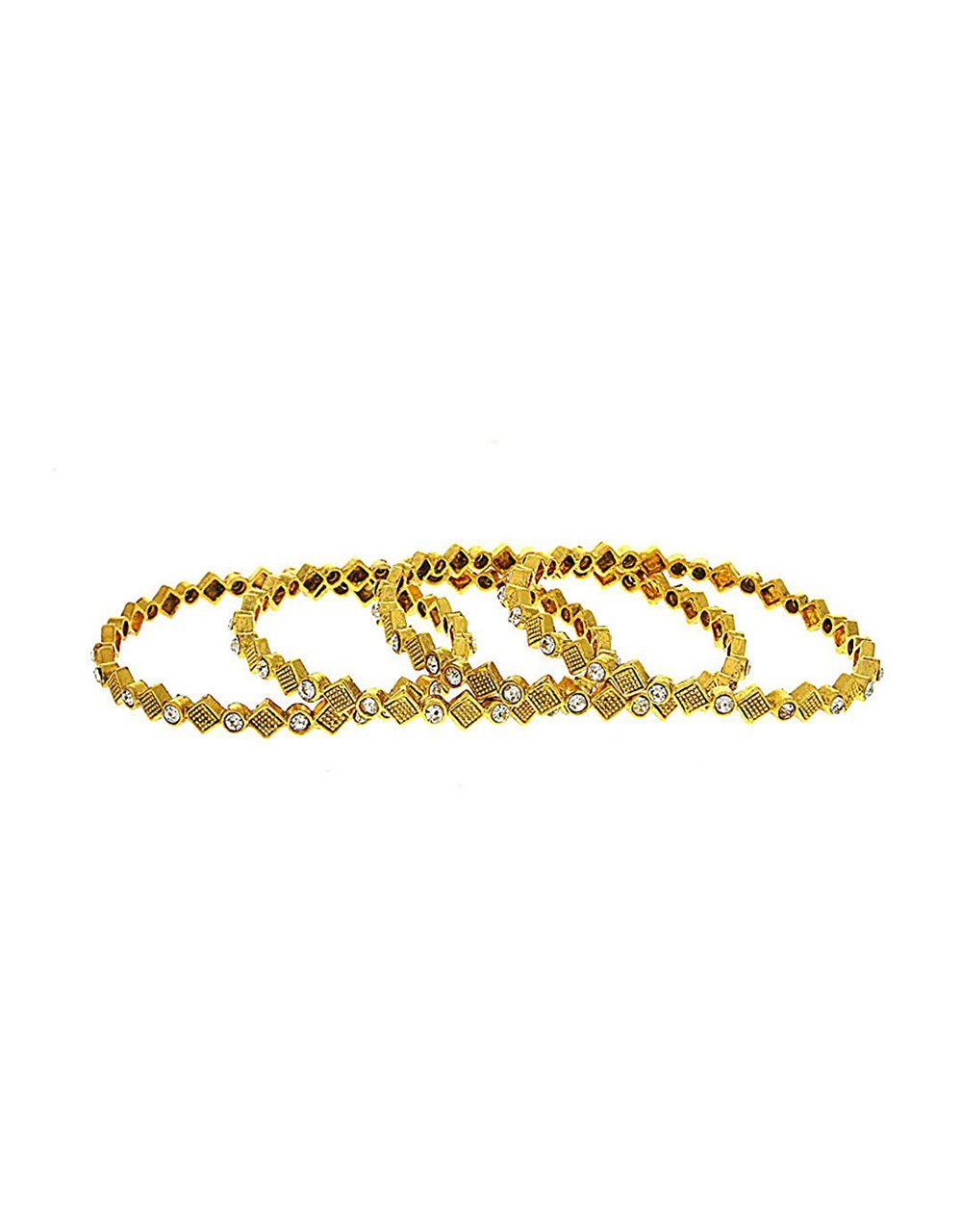 Gold Finish Traditional Bangles Set For Women Fancy