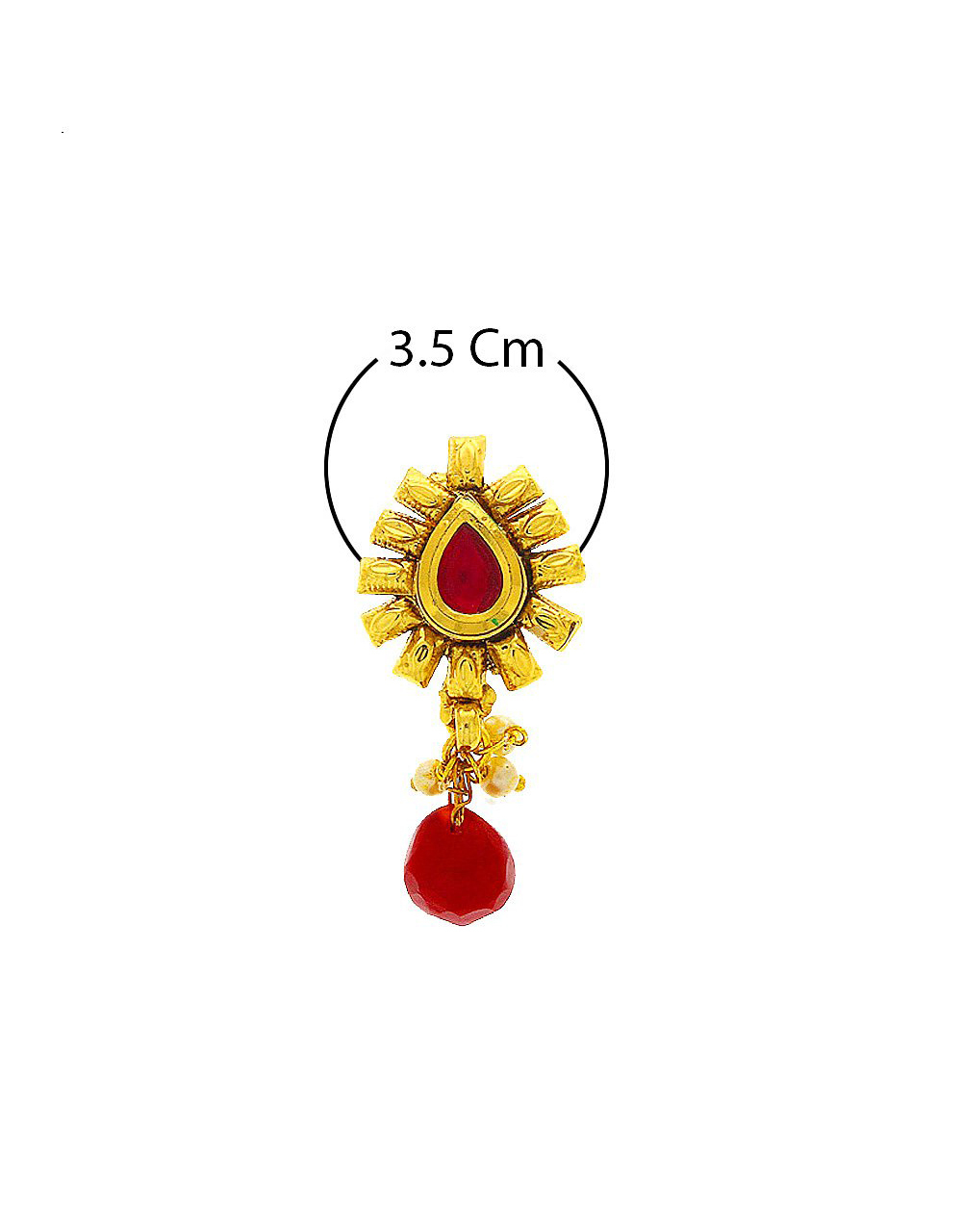 Red Colour Gold Finish Traditional Nose Stud