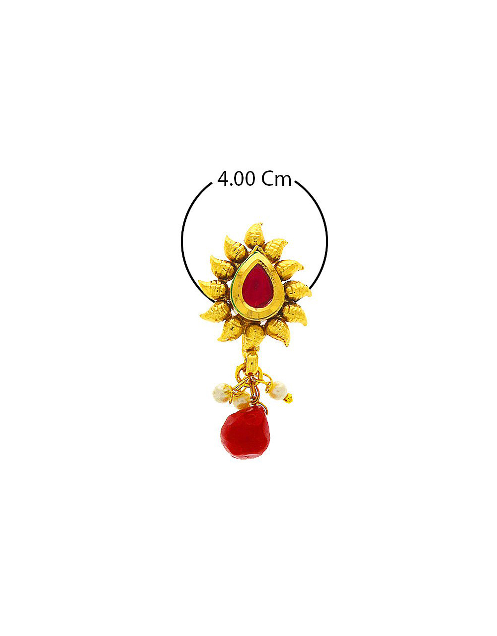 Red Colour Fancy Gold Finish Nose Stud