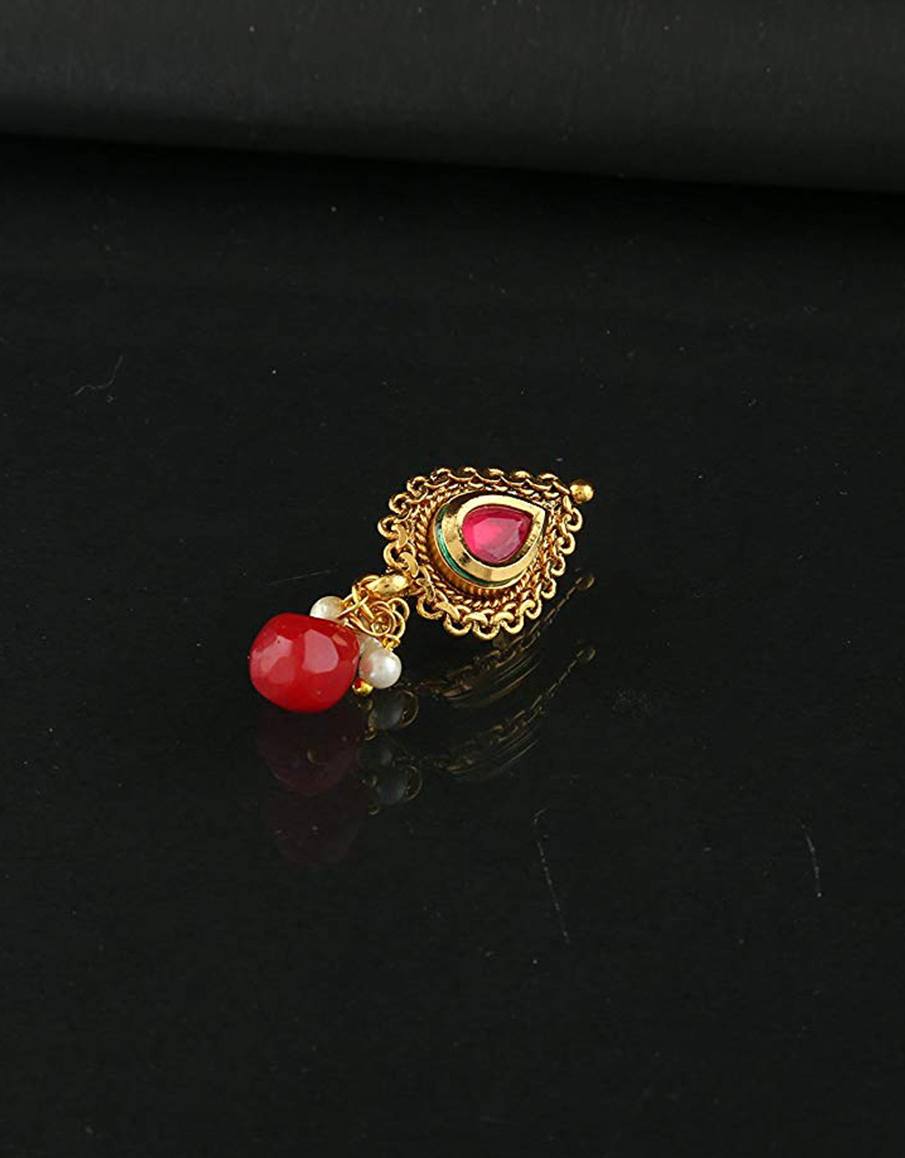 Red Colour Gold Finish Trendy Nose Pressing Nath