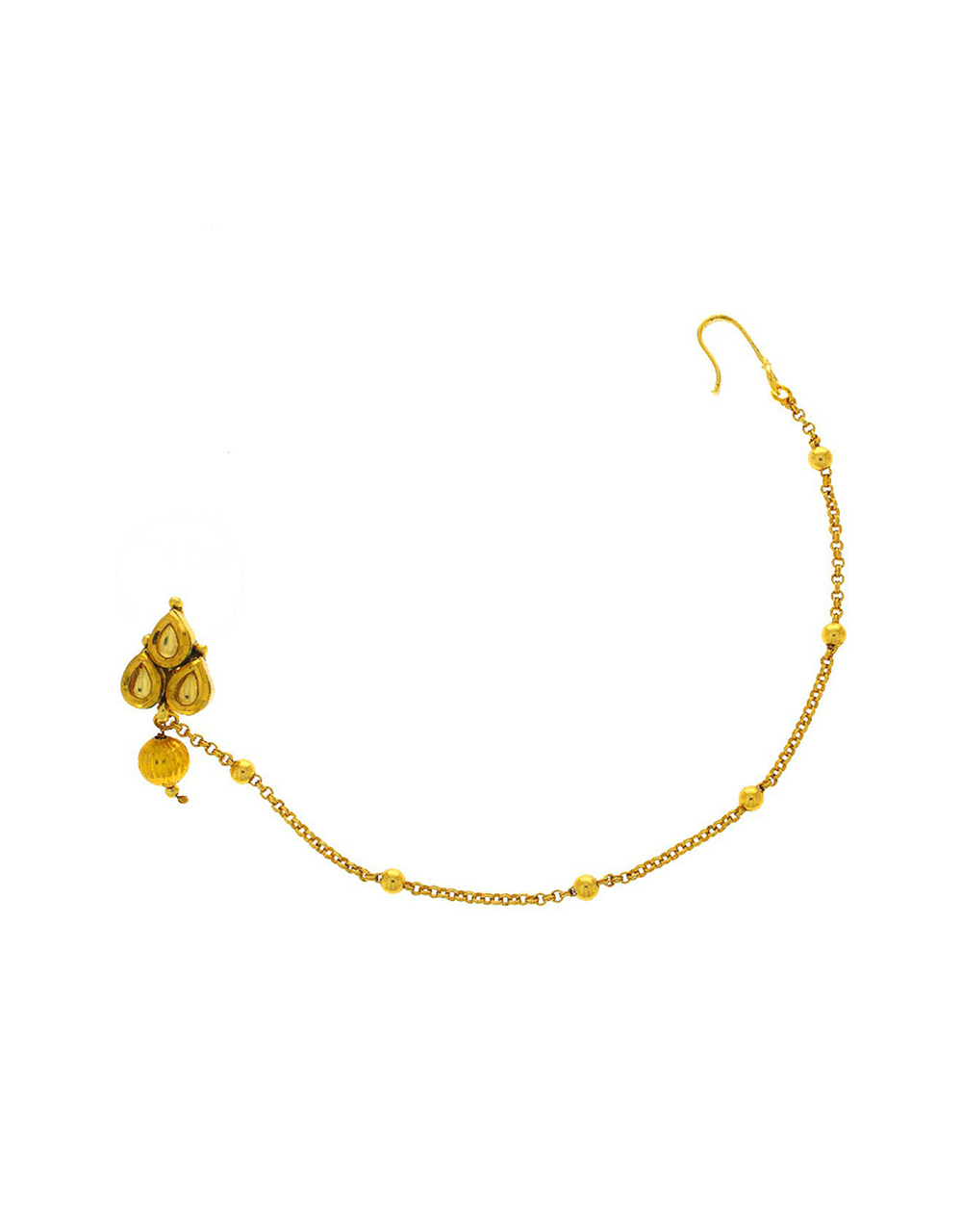 Gold Finish Nose Ring Studded With Kundan Chain Nose Ring