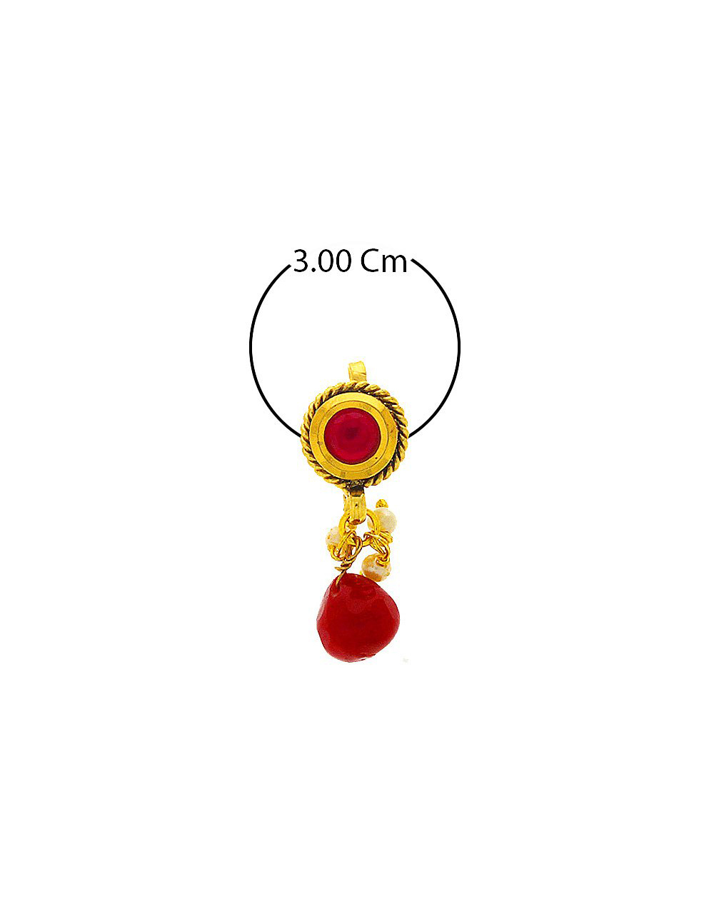 Red Colour Gold Finish Nose Stud Fancy