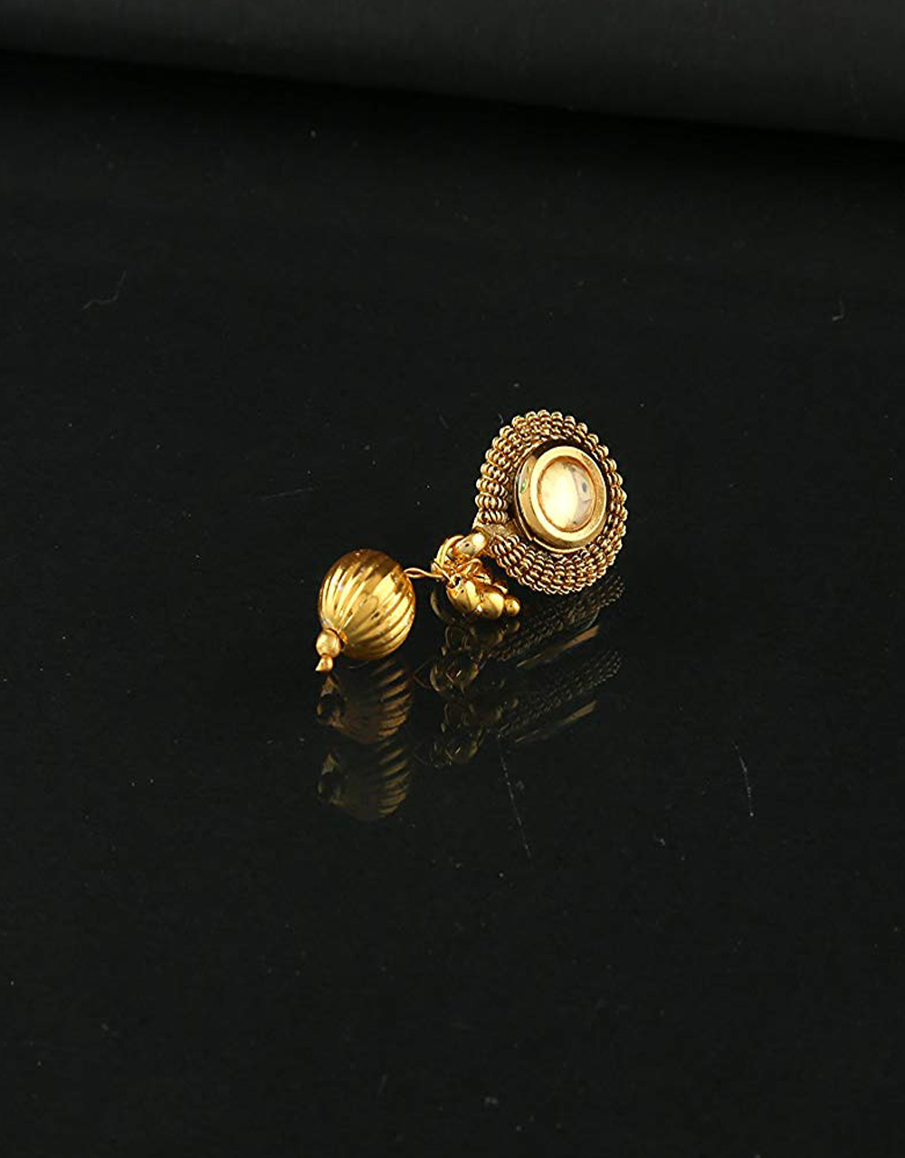 Peach Colour Gold Finish Nose Stud Traditional
