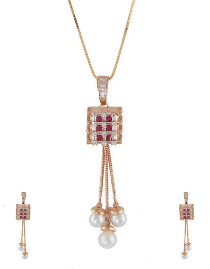 Pink Colour Copper Finish American Diamond Pendant Set
