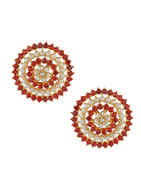 Gold Finish Red Colour Moti Pendant Set For Wedding
