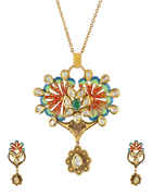 Green Colour Kundan Pendant Set For Girls