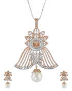 Copper Finish American Diamond Pendant Set For Girls