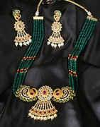 Green Colour Gold Finish Peacock Design Necklace