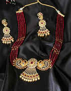 Red Colour Gold Finish Beads Styled Necklace
