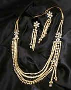 Floral Design Gold Finish Diamond Necklace