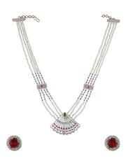 Fashionable Silver Finish Diamond Jewellery Set