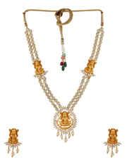 Gold Finish Temple Design Diamond Necklace