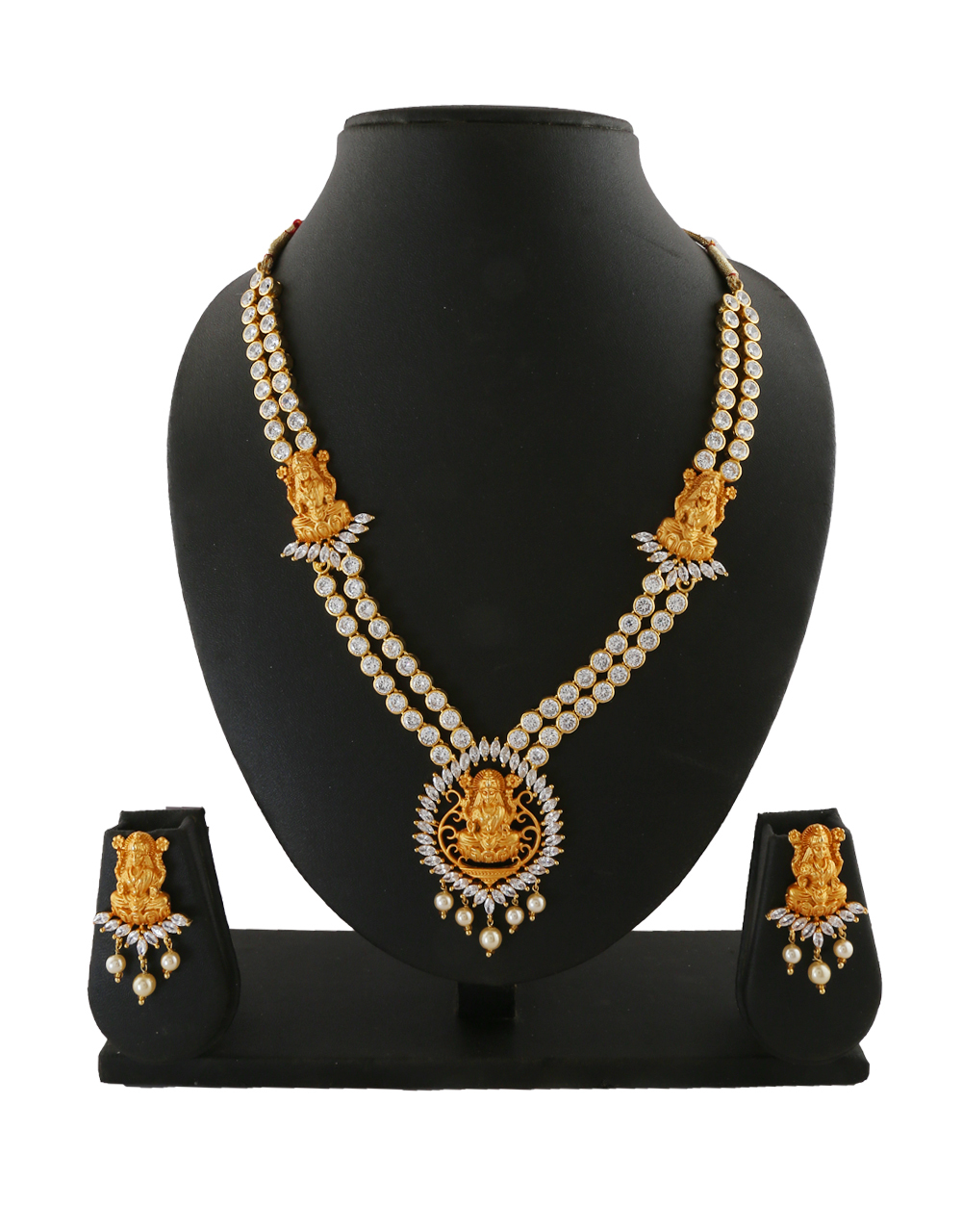 Gold Finish Temple Design Diamond Necklace