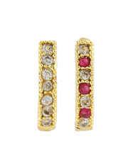 Green-Pink Colour Designer Diamond Nose Ring For Girls