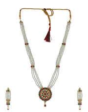 Multi Colour Gold Finish Moti Necklace For Wedding