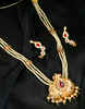 Gold Finish Pink Colour Peacock Design Fancy Necklace