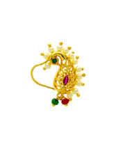 Gold Finish Designer Maharashtrian Nath For Dulhan