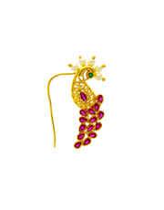 Pink Colour Gold Finish Fancy Maharashtrian Nathani