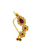 Gold Finish Nath Studded With Diamonds Nath For Girls