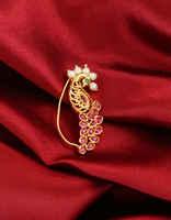 Pink Colour Gold Finish Designer Nath