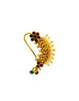 Floral Design Gold Finish Fancy Nose Nathani