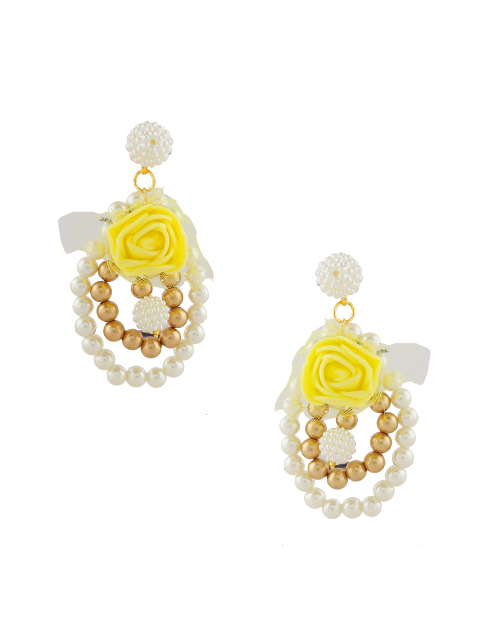 Yellow Colour Flower Jewellery Styled With Beads Necklace