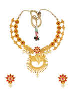 Pink Colour Matte Gold Finish Fancy Necklace For Fancy