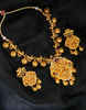 Temple Design Matte Gold Finish Multi Colour Necklace Fancy