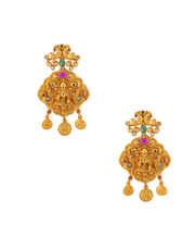 Temple Design Matte Gold Finish Multi Colour Necklace Fancy