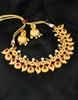 Floral Design Matte Gold Finish Traditional Necklace