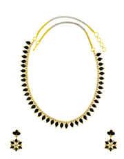 Black Colour Gold Finish  Diamond Necklace Fancy