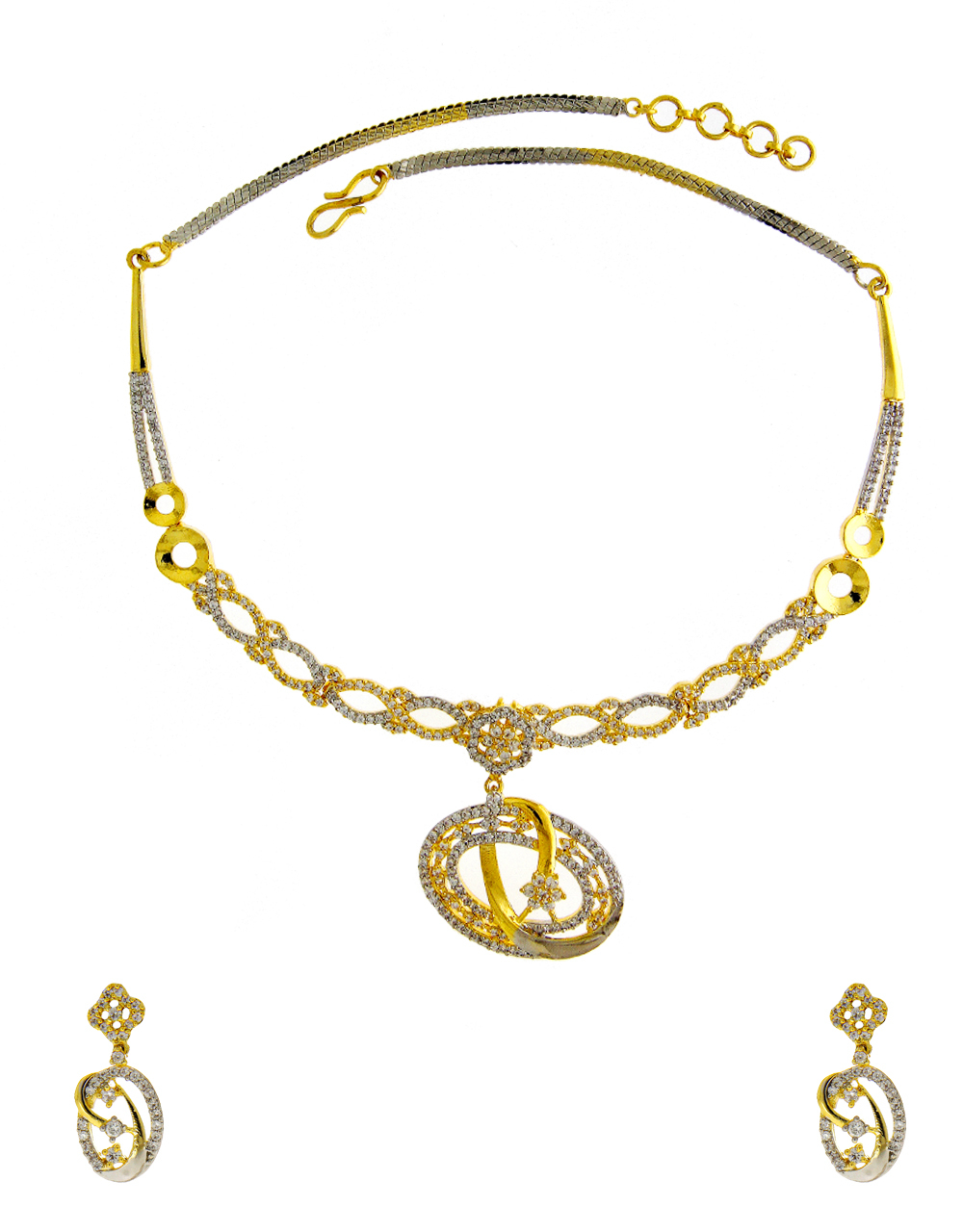 Designer Gold Finish Diamond Necklace
