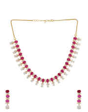 Pink Colour Diamond Necklace For Girls Fashionable