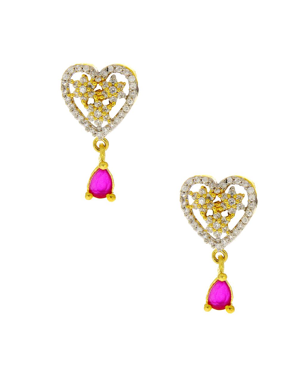 Pink Colour Simple Gold Finish Diamond Necklace